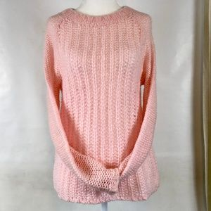 Ice Pink Fuzzy Patterned Knit Crew Neck